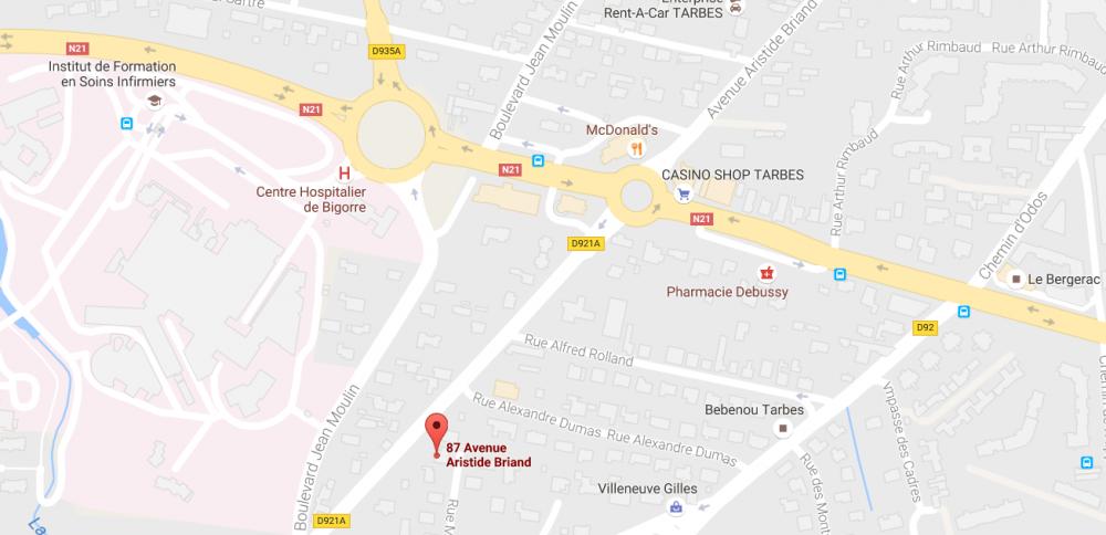 Nos cours d'anglais à Tarbes se font vers le Centre Hospitalier de Bigorre. Nous sommes à côté de la Banque Populaire Occitane.
